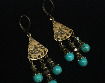 Hammered Brass with Crystal and Turquoise Dangles Earrings