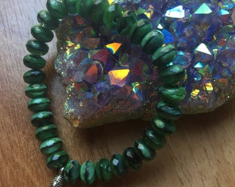 Gorgeous Green Tigers Eye Glass Stretch Bracelet