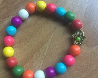 Rainbow Howlite and Hamsa Bracelet