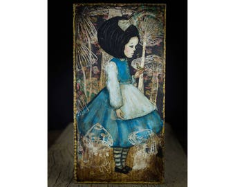 Advice from a caterpillar, where Alice meets a mysterious character in Wonderland on a mixed media painting on a wood frame by Danita Art