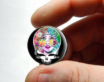 25mm 20mm 16mm 12mm 10mm or 8mm Glass Cabochon - Grateful Dead Steal Face Head Design 17 - for Jewelry and Pendant Making