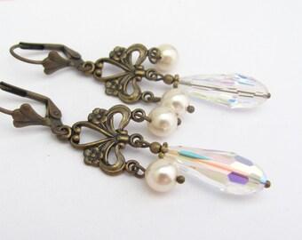 Swarovski Pearl Earrings, Victorian Earrings, Art Nouveau Wedding, Chandelier Earrings, Bohemian Wedding, Bridal Jewelry, Crystal Wedding