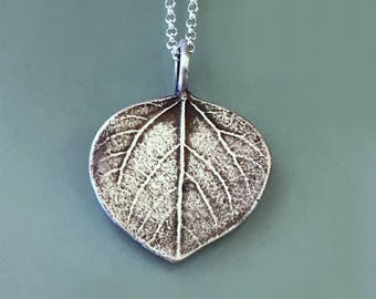 Aspen Leaf Necklace or Pendant in Sterling Silver - Gift for Mom - Last Minute Gift
