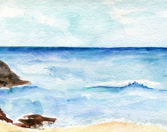 Aruba watercolors paintings original , lovely sea with rocks on beach,  Ocean Art 4 x 6 inches. original watercolor painting of ocean, beach