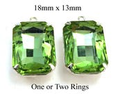 Peridot Green Glass Beads - Octagons in Silver or Brass Settings - 18mm x 13mm - Rhinestone Pendants or Charms in Prong Settings - One Pair