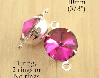 Fuschia Pink Glass Beads, Pink Glass Gems, Silver Settings, Brass Settings, 10mm Rivoli, 45ss, Rhinestones, One or Two Rings, One Pair