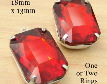 Red Glass Beads - Octagon in Silver or Brass Settings - 18mm x 13mm - Framed Glass Pendant or Earring Jewels - Glass Gems - One Pair