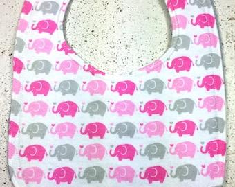 Elephant Baby Bib - Infant Bib - Dribble Bib - elephants - Pink - Gray - Baby Shower Gift - Handmade