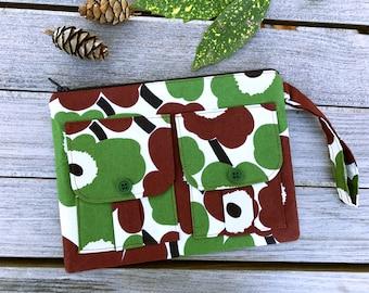 Wristlet - Floral Brown Wristlet, Wristlet Clutch, Wristlet Wallet, Wristlet Purse, Smartphone Wristlet, Zipper Wallet