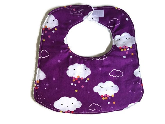 Showery Clouds Purple Girls Baby Bib, Infant Baby, Drool Bib, Handmade Girl Bib