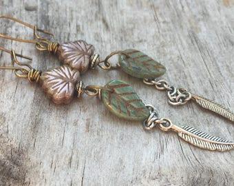 FEATHER & LEAF Very Long Earrings Earthy BOHO Bohemian Style Beaded Dangle Earrings in Antique Brass and Silver