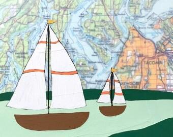 Puget Sound / 8 x 8 Map Painting / Washington Art / Sailboat / Map Art / Modern Decor / Rachel Austin Art / Modern Nursery