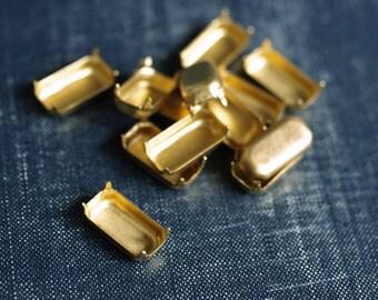 16x8mm Octagon NO Loop Brass Rhinestone Prong Settings - 18pcs - Raw Brass Prong Setting 16x8 Rectangle Octagon Glass Jewel Frame