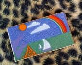 Vintage 1950s Cigarette Case Card Holder Compact MCM Enamel Metal 2014551