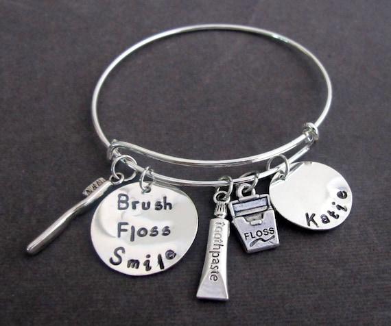 Dental Hygienist Bangle Bracelet,Dentist Graduation Gift,Hygienist Gift Jewelry,Dental Office Jewelry,Dentist Gift Jewelry,Free Shipping USA