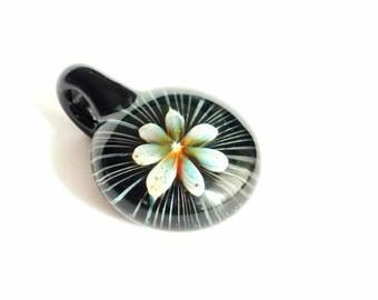 Glass flower pendant - Harlequin Moon