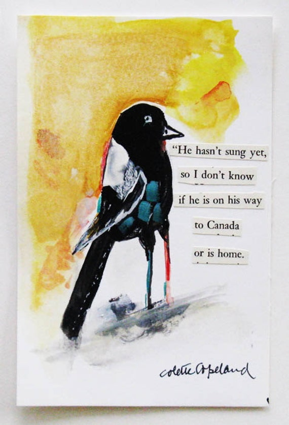 Bird Talk, black bird, gouache on paper, postcard size, original painting