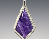 CLEARANCE. Charoite Pendant. Sterling Silver Necklace. Kite Shaped. Purple Gemstone. Genuine Charoite. 17 Inch Necklace. f13p006