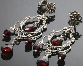 CLEARANCE. Garnet Chandelier Earrings. Sterling Silver. Genuine Gemstone. January Birthstone. Red Garnet. Ornate Earrings. s13e014