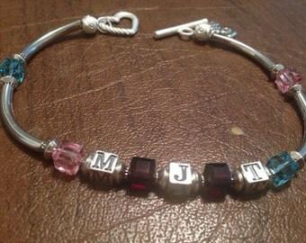 Birthstones, initials and love bracelet!
