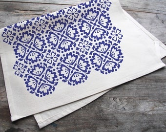 Hand-Printed Blue Spanish Tile Cotton Tea Towel with hanging loop, made in the USA