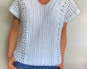 Pattern Only - Shell Crochet V - Neck Top Crochet Pattern