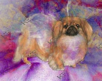 Pop Art Pekingese Dog - 5x7 - Instant Download