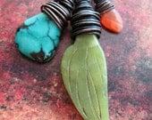 Carved Olivine Jade Leaf, Turquoise Briolette and Carnelian Antiqued Copper Pendant Set