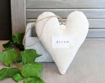 Vintage French Linen Lavender Sachet Heart, DREAM