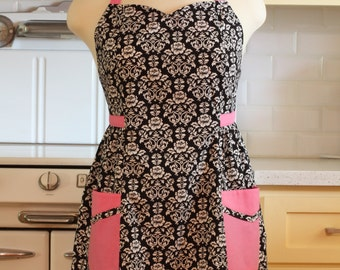 Retro Apron Plus Size Sweetheart Neckline Black and White Floral Damask with Pink BETTY