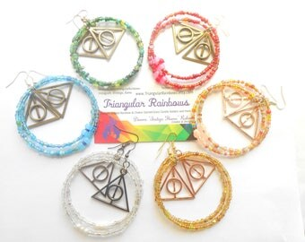 Harry Potter Inspired Glass Bead Hoop Earrings Choose Your Color Fantasy Novel Magic Lumos Charm Glow in the Dark
