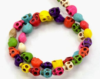 16 mini SKULL beads 7x6mm colourful Mexican Dia de Los Muertos trinkets #117B