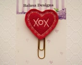 Hugs Kisses Red Pink Heart Valentine Planner Clip, Bookmark, Planner Accessory, Paper Clip