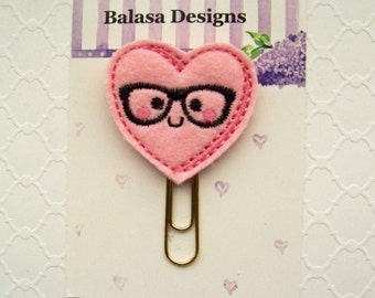 Pink Nerd Heart Valentine Planner Clip, Bookmark, Planner Accessory, Paper Clip
