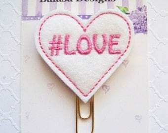 Love Heart Valentine Planner Clip, Bookmark, Planner Accessory, Paper Clip - Weekly Special