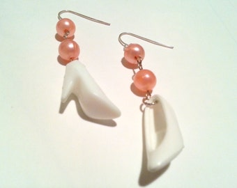 Pearly Pink and White Barbie Shoe Earrings Vintage Doll High Heels