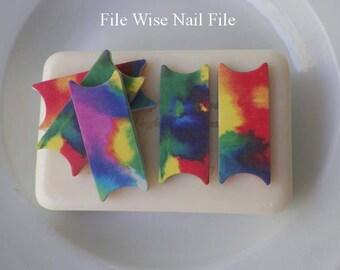 Tye Dye File Wise Nail Files Original Design Beauty Files Manicure Wedding Shower Favor Bridesmaids Teen Girls Mini Nailfile DIY Nail Care