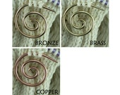 Spiral Cable Needle, Copper, Brass or Bronze, Knitting Notion, Cable Stitch Holder, Knitting Tool