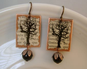Tree Hugger - Antique French Text Tree Image Transparency Copper Base Niobium Wires Recycled Repurposed Earrings