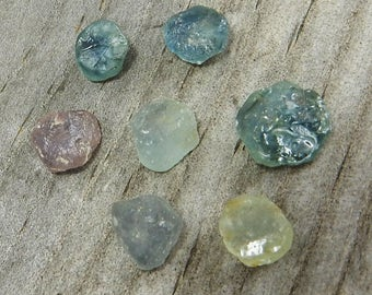 Rough Montana Sapphire Cabs - De-Stash Stone Sale - 5-8mm, Fair Trade, Jewelry Making Supplies, Gemstones
