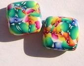 Spring Thaw Square Handmade Artisan Polymer Clay Bead Pair