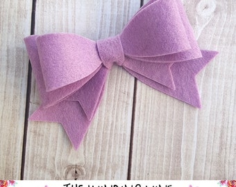 Large Lavender Purple Felt Double Bow Headband/Clip/Barrette for Baby, Child, Teen, or Adult - Custom Colors