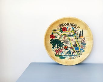 Vintage Decorative Bowl Florida Bamboo Retro Novelty Souvenir Map