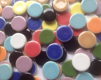 50 - 5/8 inch ROUND CIRCLE Assorted Colors Ceramic Mosaic Tiles