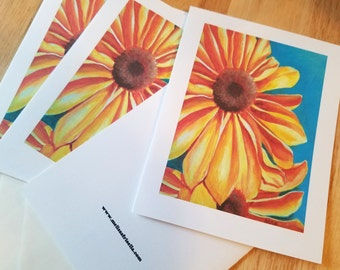 """Black-Eyed Susan Painting Note Cards on White Cardstock 4"""" x 5 1/2"""""""