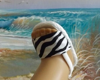 "Doll Sandals Shoes for 18"" doll and 13-14"" doll and 14.5"" doll (You Choose Size) Zebra Fabric Black and White"