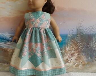 "18"" Doll Dress OOaK Romantic Pastel 1990s Quilt Inspired Medley Will Fit Like AG Made with Vintage Fabric"