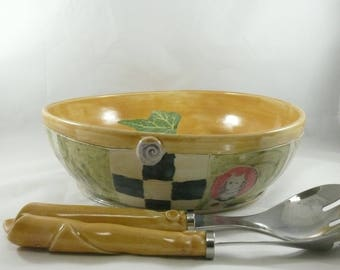Large Pasta Serving Bowl, Pasta Bowl Set, Salad Bowl,Ceramics and Pottery, Fruit Bowl, Centerpiece, Wedding Gift, Anniversary Gift 754