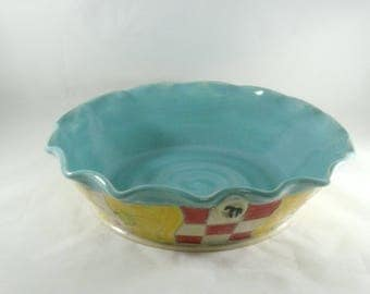 Ceramic Bakeware - Pie Baking Pan or Casserole Dish - pottery and ceramics, Quiche Pan - Blue baking dish - Ceramic Pie Pan 452