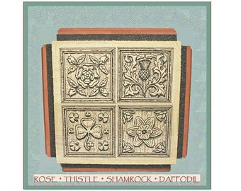 Woodcut Flowers Rubber Stamp Set Four Designs One Cube Thistle Shamrock Daffodil Rose
